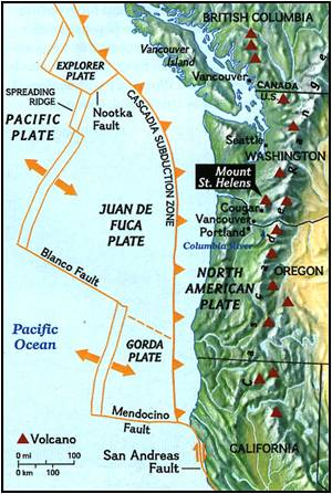 the small juan de fuca plate oceanic is being subducted under the large north american plate continental this is shown in the diagram below