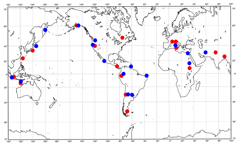 Worldlywise wiki the causes and effects of earthquakes and how it shows recent volcanoes and earthquakes volcanoes are shown in blue earthquakes in red are they scattered randomly or is there some kind of pattern gumiabroncs